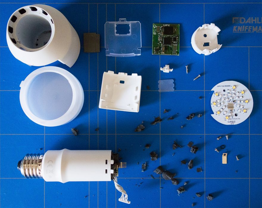 The dissected LIFX bulb.